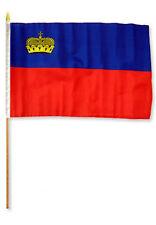 "12x18 12""x18"" Wholesale Lot of 6 Liechtenstein Stick Flag wood staff"