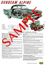 Sunbeam Alpine Series 2 Reproduction Specification Poster