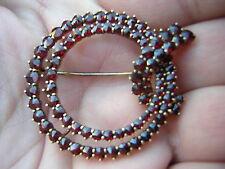 Vintage Rich Red Garnet Brooch Pin Antique Bohemian Sterling Silver Gold Vermeil