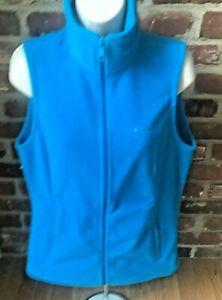 Womens Columbia Fleece Vest Full Zipper Bright Blue Sz S