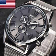 Luxury Men's Watches Date Stainless Steel Analog Quartz Boy Sport Wrist Watch US