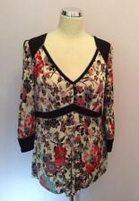 GHOST SILK MULTI COLOURED FLORAL PRINT V NECK 3/4 SLEEVE TOP SIZE L