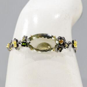 "Handmade Green Amethyst Bracelet 925 Sterling Silver  Inches 7""/BR05684"