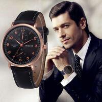 Mens Formal Dress Wrist Watch Retro Design Faux Leather Band Analog Alloy Quartz