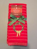 Finger Tip Towels Embroidered Christmas Wreath 100% Cotton Set of 2 Guest Bath