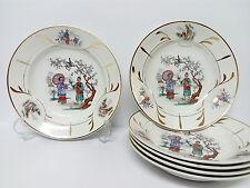 Antiguo Set 6 Platos Porcelana Loza SAN CLAUDIO OVIEDO Principios Siglo XX RARE