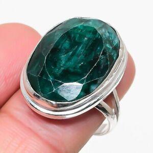 Skota Emerald Gemstone 925 Silver Plated   Jewelry Ring Size 9 RL-26042