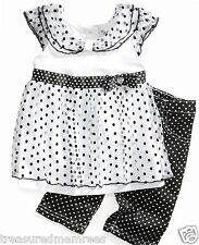 Nannette 2 Piece Ruffle Tank Top & Polka Dot Capris Set ~ 2T ~ New With Tags