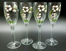 SET OF 4 PERRIER JOUET BELLE EPOQUE CHAMPAGNE FLUTES CRYSTAL HANDPAINTED GLASSES
