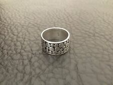 VINTAGE 1980'S STERLING SILVER FLAT PEBBLE MENS WIDE BAND RING SZ.10