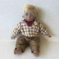 Vintage Simba Toy Doll Boy With Blue Eyes Stuffed Body Plastic Head Arms & Legs