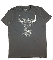$145 Ralph Lauren Men Gray White Flower Longhorn Crew Neck T Shirt Tee Size M
