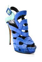 Giuseppe Zanotti Design Womens Suede Platform Stiletto Heel Sandals Blue Size 7