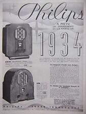 PUBLICITÉ 1933 PHILIPS SUPER-INDUCTANCE 6 LAMPES - ADVERTISING