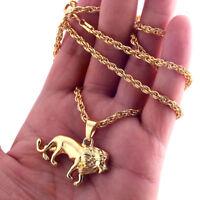 Hip Hop Men's Sweater Long Chain Necklace Gold Plating Lion Necklace Pendant