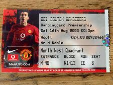 More details for cristiano ronaldo manchester united utd debut ticket v bolton 16 august 2003 cr7