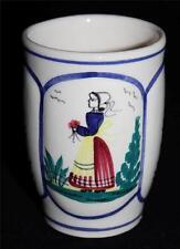 "Henriot Quimper Tulip Shaped Mug, Lady on Center, Ivory or Cream Background, 4"""