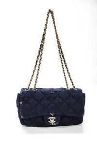 Chanel Nylon Quilted Turnlock Satchel Shoulder Handbag Blue