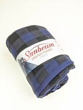 Sunbeam Heated Electric Throw Blanket Fleece Extra Soft Navy Black Plaid