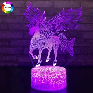 Gifts For Kids Remote Control 3D LED Night Light Unicorn Shaped Table Lamp 3W
