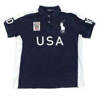 Polo Ralph Lauren Big Pony USA Flag Navy Blue Shirt Men's Size XL Custom Fit