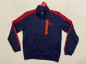 Mens PUMA Full Zip Long Sleeve Track Jacket Size UK M Navy Blue & Red wt Pockets