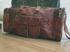 "Genuine Leather Travel Duffle Bag 25"" Vintage Unisex Luggage Bag Fashion Gym Bag"