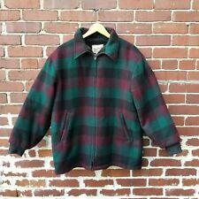 Vtg Woolrich Mens Wool Blend Plaid Coat Sz L Faux Shearling Lined Green Maroon