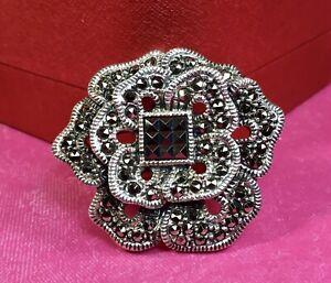 Judith Jack Sterling Silver Marcasite Gemstone Brooch Pin Fine Jewelry