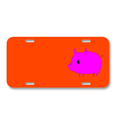 Pig Cute Magenta Animal Mammal On License Plate Car Front Add Names
