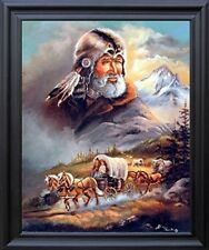 Western Covered Wagon Cowboy Picture Black Framed Wall Decor Art Print (19x23)