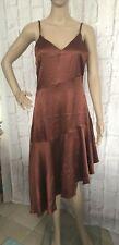Nasty Gal Womens Dress Size 10 Satin Cami Midi Chocolate Bias Cut Hem  NEW
