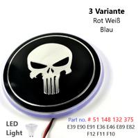 82mm Punisher Black White Skull 3D Blue LED Light Bonnet Emblem Hood Badge Logo