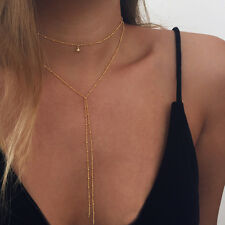 GOLD TONE BEADED MULTI-LAYER CHOKER CLEAVAGE NECKLACE - UK SELLER