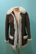 Hippie Lamm Fell Mantel ca 40/M braun vintage Einzelstück echt Leder retro warm