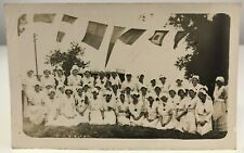 WW1 WWI RP Real Photo Postcard Group Nurses Patriotic Flags Nursing History