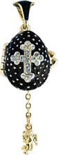 Faberge Egg Pendant / Charm with Cross & Angel 2.2 cm black #0729