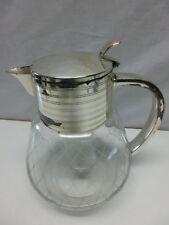 Karaffe Kalte Ente, Glas geschliffen, vermutlich Art Deco versilbert #1980