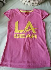 Girls pink v-neck la gear t-shirt age 9-10 years