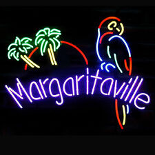 """New Margaritaville Parrot Real Glass Beer Bar Pub Store Decor Neon Signs 20""""X16"""""""