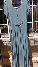 Karen Alexander Teal w Faint Black Vertical Stripes Long Dress 12