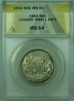 1953 Small Date Canada 50c 50 Cents Silver Coin ANACS MS-64 Proof-Like