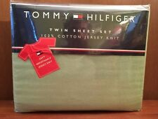 Tommy Hilfiger TWIN XL SHEET SET & PILLOWCASE Soft 100% Combed Cotton GREEN NIP
