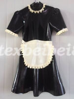 Latex Skirts New 100% Rubber Maid Woman Club Sexy Ruffle Dress 2019 Size S-XX