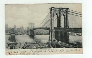 NY New York City antique 1907 post card - Brooklyn Bridge