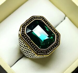 Unique Ring Emerald Silver Plated Solid Stunning Emerald Cut US Size 6.5