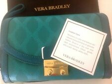 Vera Bradley ULTIMATE LEATHER WRISTLET-CLUTCH WALLET PURSE *TEAL* WITH DUST BAG