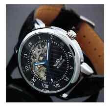 BLACK Steampunk Skeleton Hand-Winding Men's Mechanical Black Leather Watch