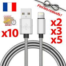 CABLE POUR IPHONE 7 6 5 8 PLUS IPAD IPOD CHARGEUR USB METAL RENFORCÉ 1M ARGENT
