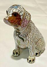 "Vintage 3.5"" Enamelware Cloisonné Dog Animal Figurine Statue Brass White Gold"